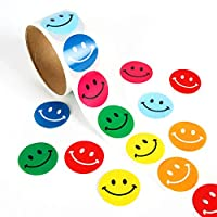 Smiley Sticker,100Pcs Happy Face Round Paper Labels for Kids Chirstmas Birthday Party Supplies(6 Colors)