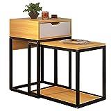 Laptopständer DD Satztische, Rechteckiger Multifunktionswinkel, Metallhalterung/Holztischplatte, 2 in 1/Platz Sparen Mit Schublade -Werkbank (Farbe : Holz)