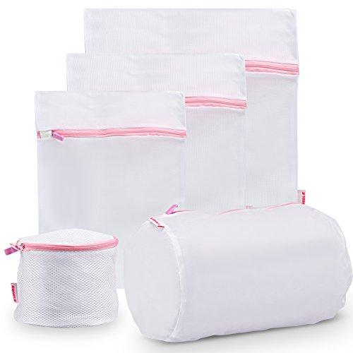 GWHOLE Borse per Bucato con Cerniera Zip e Rete di Protezione Abbigliamento - Sacchetto Per Lavaggio in Lavatrice di Biancheria Intimo e Vestiti, Set di 5