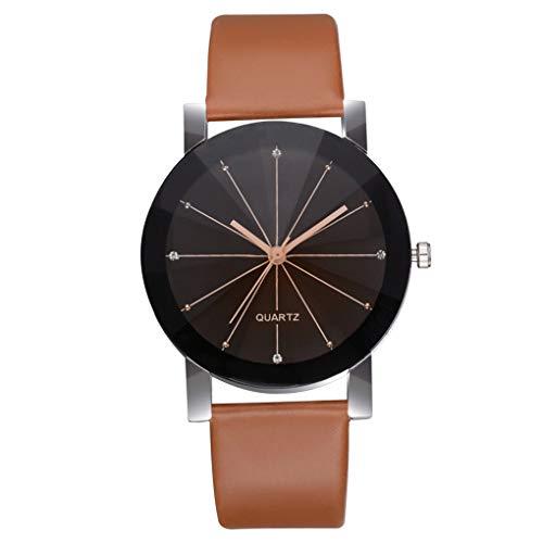 Dorical Damen-Armbanduhr Armbanduhr für Damen, Frauen Elegant Uhren Kunstleder Slim Uhr/Frau Luxus-Mode Analoge Uhr/Glas Minimalistische Quartz Analog Uhren/Groß & klein/Sale(Braun,Large)