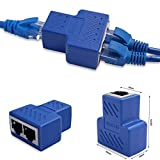 HUACAM RJ45 Splitter 1 bis 2 Dual Female Port, Cat 5 / Cat 6 Lan Ethernet Socket Splitter Stecker Adapter mit Shield