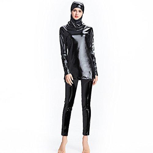 Ziyimaoyi Dezente muslimische Bademode für Frauen und Mädchen, Schwimmanzug (Hijab/Burkini), damen, schwarz 2, XXXXXXL
