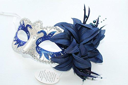 r Schwan Venezianische Maskerade Partei Karneval Maske mit Blume (Maskerade Masken Blau)
