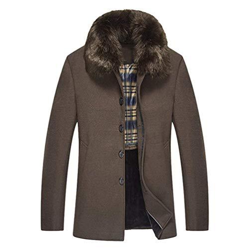 Betrothales Parka Herren Elegant Bomberjacke Mantel Outdoor Winter Jacken Jacke Wintermantel Kunstpelz Kragen Button Langarm Outerwear...