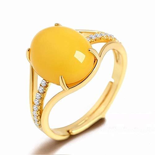 Mayanyan S925 Sterling Silber Ring Damen gelb natürliche Jade Ring einstellbar Verlobungsring Schmuck