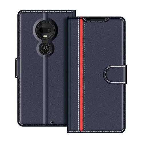 COODIO Handyhülle für Motorola Moto G7 Handy Hülle, Motorola Moto G7 Plus Hülle Leder Handytasche für Motorola Moto G7 / G7 Plus Klapphülle Tasche, Dunkel Blau/Rot