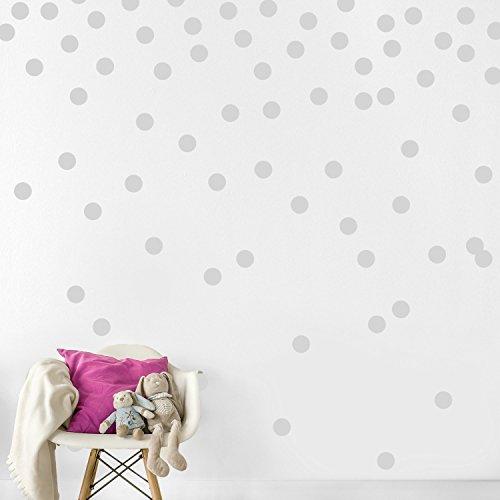 7 COLOR WINGS Wand-Abziehbild-Punkte (200 Abziehbilder) Einfache Schalen-u. Stock-Wände Farbe entfernbare Matte-Vinyl-Polka-Punkt-Dekor Runde Kreis-Kunst-Funkeln-Sprichwort-Aufkleber Großes Papierblatt-Set Kinderzimmer-Raum (Grau)