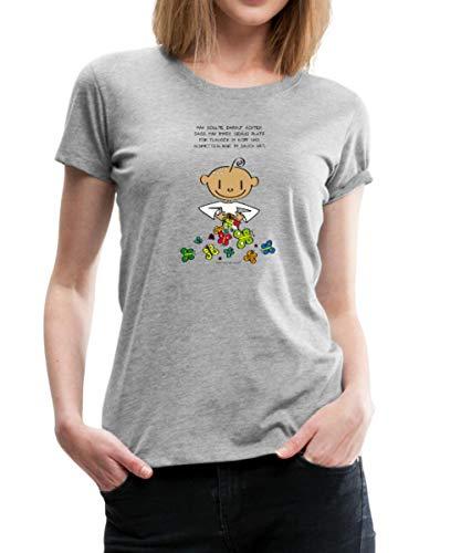 Der Kleine Yogi Flausen Im Kopf Frauen Premium T-Shirt, M (38), Grau meliert -