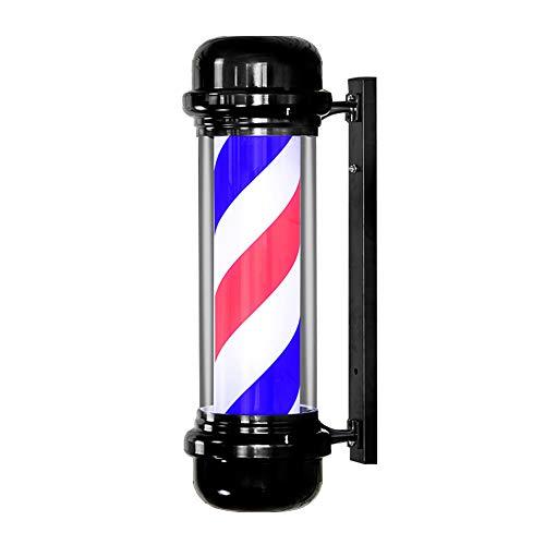 MAQLKC LED Barber Pole Retro Lampe Rot Weiß Blau Rotierende Beleuchtete Streifen Wand-Licht Friseursalon Friseur Zeichen -