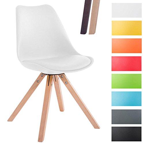Clp sedia design toulouse con seduta imbottita e rivestita in similpelle| sedia pranzo con scocca in polipropilene| sedia visitatore telaio in legno bianco colore naturale, gambe quadrate (square)