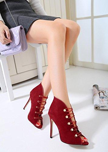LvYuan-mxx Femmes talons hauts chaussures / printemps été / Loose tendons poissons bouche / bottes cool / Bureau et carrière Banquet robe / talon aiguille / sandales RED-38