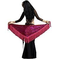 YuanDian Donna Danza Del Ventre A Triangolo Cintura Avvolgere Anca Sciarpa Scialle Pareo Paillettes Luccicanti Tassel Professional Sirena Tribale Arabian Oriental Belly Dance Accessori