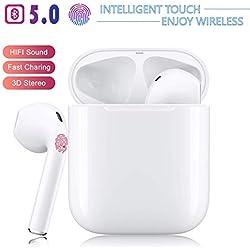Écouteurs Bluetooth 5.0, oreillette sans Fil, Microphone intégré et boîte de Chargement, réduction du Bruit 3D HD stéréo pour Casques Apple Airpods Android/iPhone 11 Pro/Samsung
