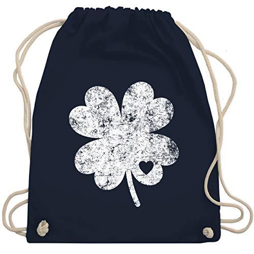 St. Patricks Day - Vintage Kleeblatt mit Herz - Unisize - Navy Blau - WM110 - Turnbeutel & Gym Bag (Old School Sport Kostüm)