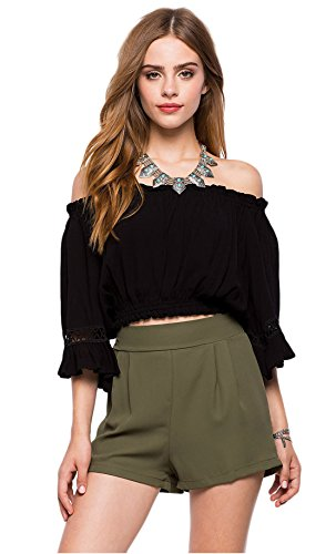 Ärmel Eleganz Show Shirt (Good dress Das Wort Jacke ärmel chiffon - shirt Frauen schultern,schwarz,S)