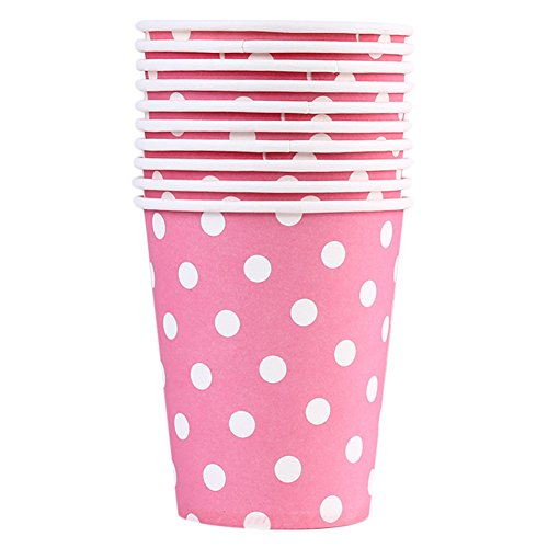 eative Rosa Punkte Einweg becher Praktisch Milch Tasse trinken Pappbecher Partei liefert ()