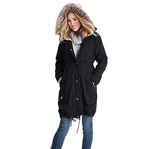 Oasics Mode Jacke Frauen Nähen Kapuzenpelzkragen lang lose warme Schwangere Frauen Jacke mit Kapuze S-3XL