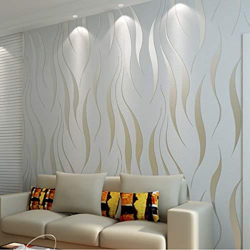 qunxun Vlies Beflockung Tapete Wohnkultur Moderne Mode 3D Welle Streifen Geprägte Tapeten Wohnzimmer Sofa Schlafzimmer Wand Licht Grau10*0.53m -