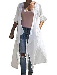 9d5475ec369 Overdose Abrigo De Manga Larga Puré Color Moda Abrigo Largo Blusa Camiseta  De AlgodóN Camisetas Sin Mangas OtoñO Mujer De…