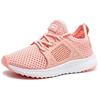 HOBIBEAR Girls Slip on Sneakers Lightweight Breathable Mesh Athletic Running Shoes Pink