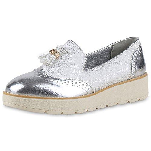 napoli-fashion , Mocassins femme Silber