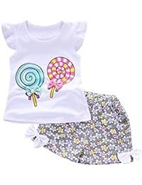 Fossen Bebe Niña Camiseta Sin Mangas de Lollipops y Pantalones Cortos Florales Conjunto de Ropa Verano