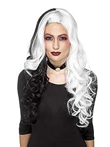 Smiffys Peluca Deluxe de Mujer diabólica, Blanca y Negra, Resistente al Calor/modificabl