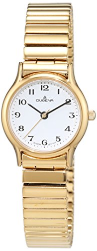 Dugena Women's 4460535 Quartz Watch with White Dial Analogue Display and Gold Stainless Steel Coating Bracelet