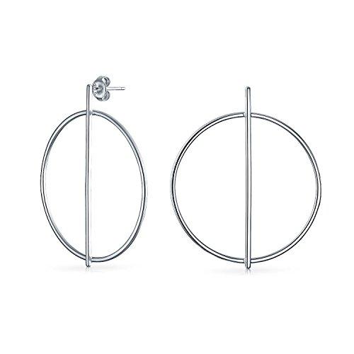Bling Jewelry 925 Silber Moderne Bar mittlerer Runde Band-Ohrringe (Zeitgenössische Bar Silber)