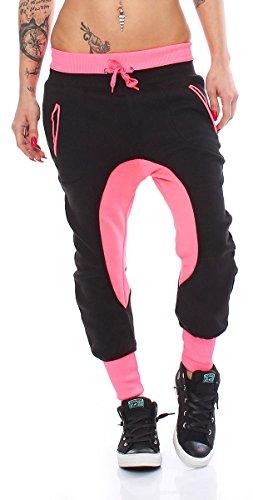 10675 Fashion4Young Damen Haremshose Hose Baggy Boyfriend Freizeithose Jogginghose Sporthose pants Schwarz-Pink
