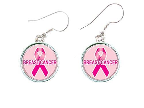 Campaña contra cáncer mama lazo rosa círculo plateado