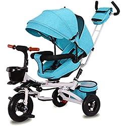 Moolo Trikes d'enfants avec la poignée de Parent, Le Tricycle, Se Pliant 1-3-6 Ans en tournant Le siège inclinant Le Dossier Les Enfants 3 Roues Safe Canopy (Color : Green2)