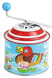 Bolz 52761 - Caja de música con diseño de patitos pequeños, Aprox. 10,5 x 7,5 cm, Lata giratoria con melodía Todos mis Patos, de Metal, para niños a Partir de 18 m+, Multicolor