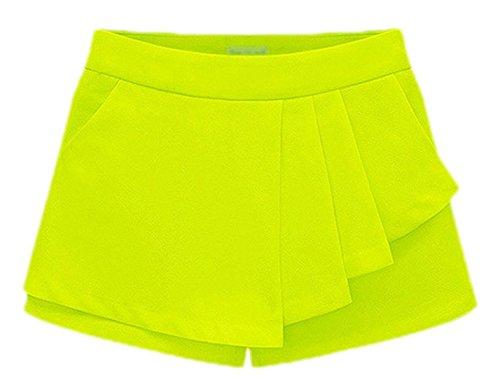 confit you - Damen Kurze asymmetrische Short / Rock mit Taschen, 34-44, Viele Farben Neon Gelb