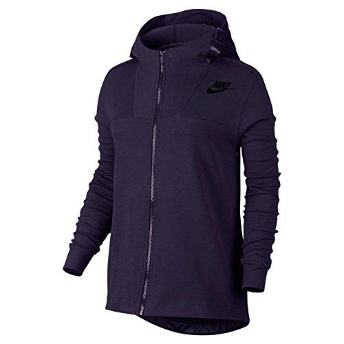Nike W NSW AV15Cape FLC Damen Sweatshirt Morado (Purple Dynasty / Purple Dynasty / Negro)