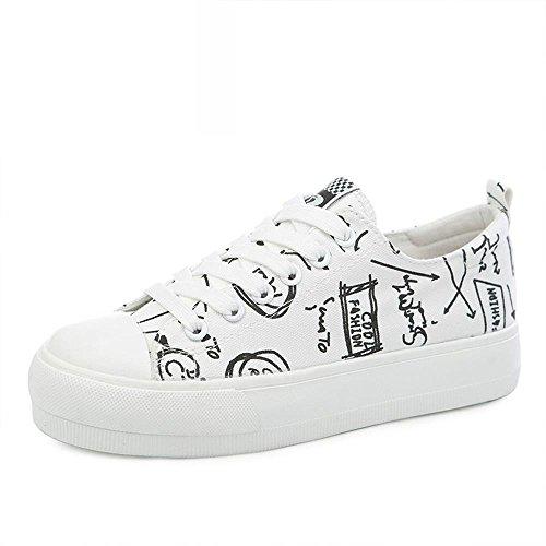 ALUK- Primavera e autunno Graffiti Studenti scarpe scarpe casual scarpe di tela ( colore : Bianca , dimensioni : 35 )