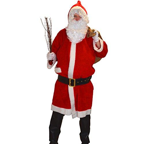 Kostüm Santa Plüsch - Krause & Sohn Kostüm Weihnachtsmann-Mantel Plüsch hochwertig Kapuze Stabiler Gürtel Nikolaus Santa Claus