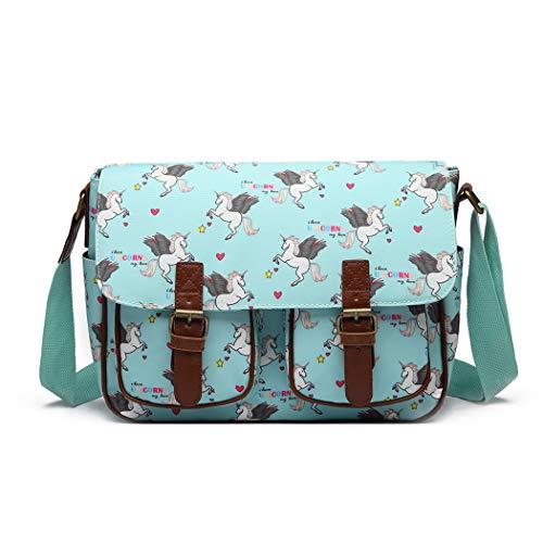 Miss Lulu Umhängetasche Schulranzen Bookbag Wachstuch Vogel Blume Einhorn Cross-Body Handtasche (Einhorn blau)