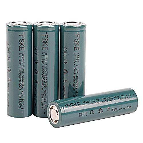 FSKE 18650 batteria Li-ion ricaricabile 3,7 v 3000mAh per e-sigarette (4 batterie ricaricabili)