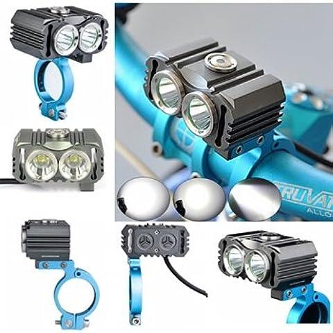 MaMaison007 TrustFire TR-D016 2 X XM-L2 LED bicicletta faro proiettore torcia - Indicatore Arbitro Acciaio