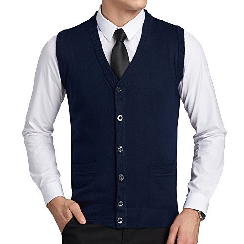 FULIER Mens Wool V-Neck Gilet Sl...