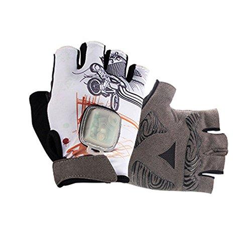 (LBAFS LED Radfahren Handschuhe mit Swivel Signal Warnung Gravity Glow Induktions Fahrrad Half Finger Handschuhe Stoßfest Skidproof Atmungsaktiv Für Unisex,A-L)