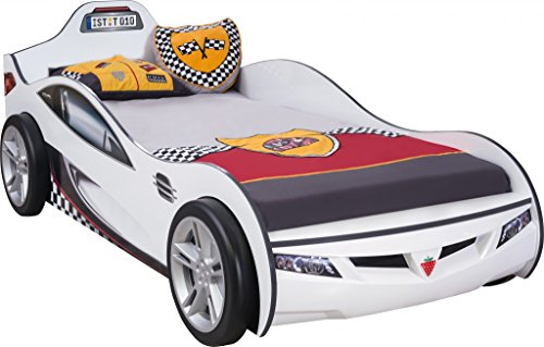 Froschkönig24 Cilek Coupe Autobett Kinderbett Bett Rennfahrerbett Weiß, Matratze:ohne