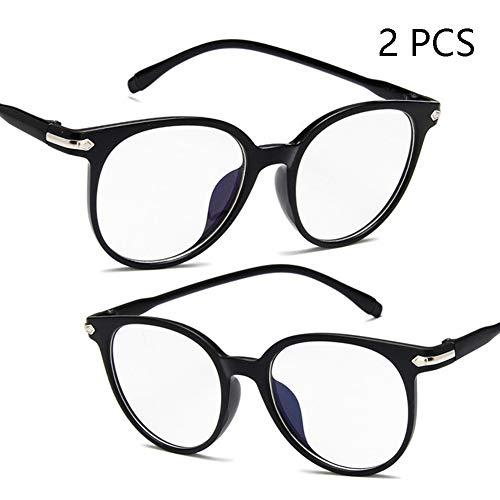 FZXHJ Anti-Blu-Ray-Brille, Tide Retro Fashion Optische Gläser, Anti-Radiation Anti-Fatigue-Computerspiel-Brille (2PCS),1