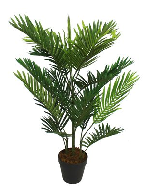 Blooming Artificial - Faux Tropical Paradise Palm Tree, 3ft / 90cm Areca Style Artificial Palm Tree Suitable For Indoor Home & Office Use, Vibrant Green Palm Frond