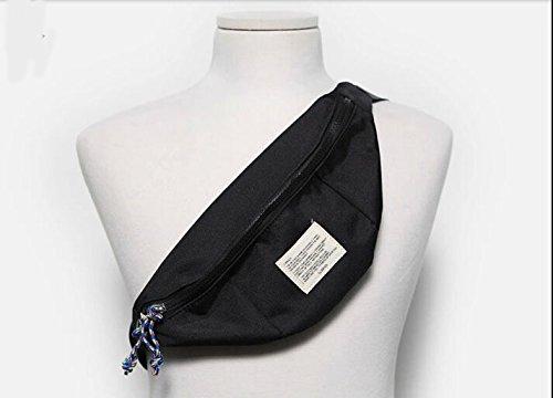 Nylon Fanny Pack Taille Tasche sportlich Reisen Taille Pack schwarz - schwarz