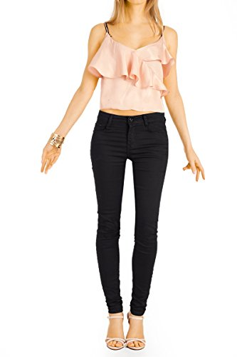 Bestyledberlin Damen High Waist Skinny Jeans, Sehr enge Röhrenjeans, Dünne Basic Sommerhose j21k Schwarz
