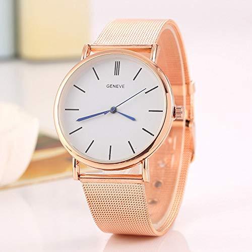 ZCFDNB Uhren Mode Damen Armbanduhren Ultradünne Rose Gold Silber Edelstahl Genf Quarzuhren Für Frauen Einfache FemininoRose Gold Weiß (Rose Gold Luxus-uhr Genf)