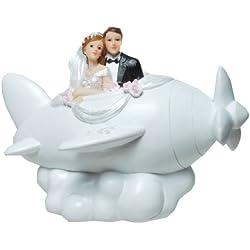 Brautpaar Hochzeitspaar Spardose Sparbüchse Geldgeschenk Tortenaufsatz Tortenfigur Cake Topper | Paar im Flugzeug | 9,5 x 18,5 cm