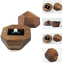 uooom madera anillo caja con forro de terciopelo negro anillo de compromiso caso, marrón